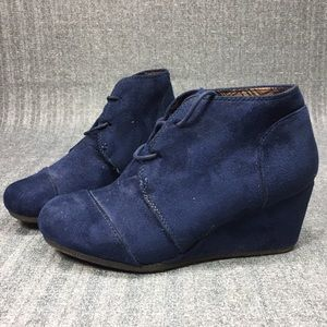 New Blue Suede Wedge Shoes Sz 8